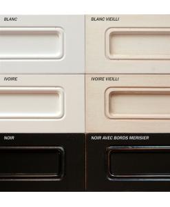 blanc, ivoire, blanc vieilli, ivoire vieilli, noir et noir avec bords merisier