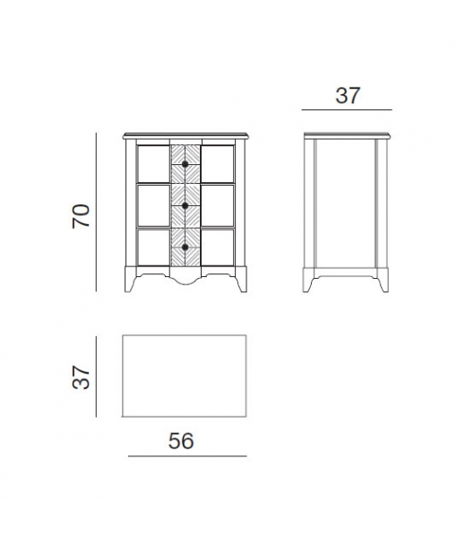 misure comodino realizzato a mano in legno AF-1017