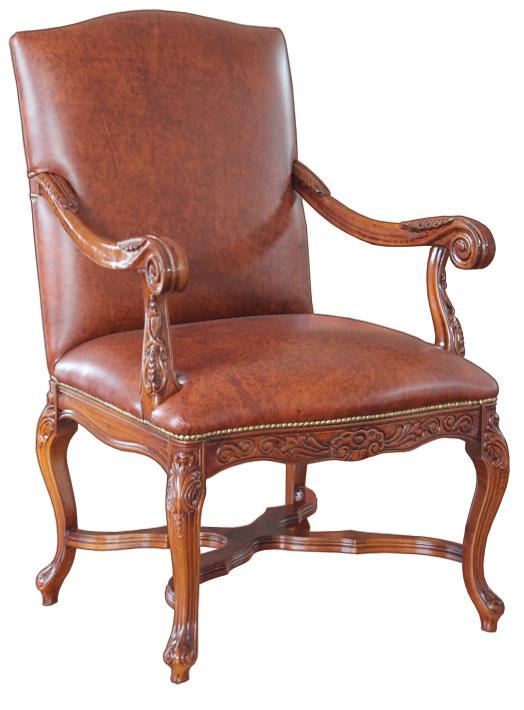 Fauteuil classique sculpt fauteuil artisanal en bois massif et cuir v ritab - Fauteuil bois et cuir ...