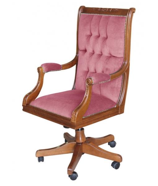 poltrona girevole in legno e velluto rosa