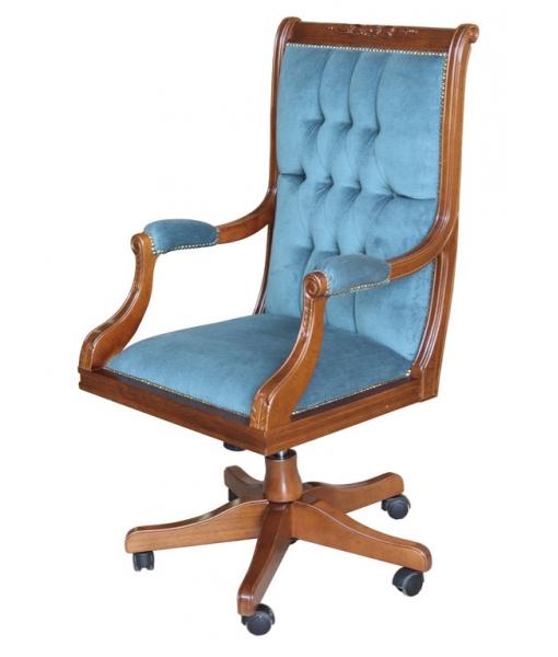 sedia girevole velluto blu