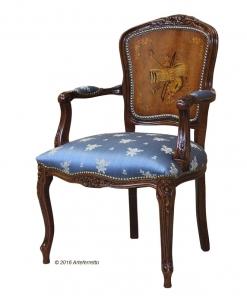 Fauteuil style Louis XV dossier bois