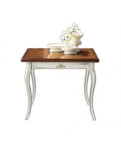 table carrée extensible marquetée, bois de chêne