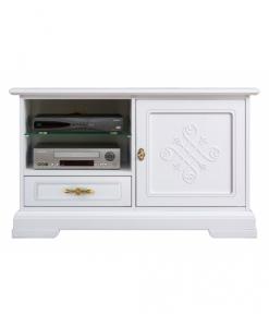 meuble tv laqué, support téléviseur, meuble blanc, salon