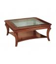 Table basse carrée, table de salon, table basse dessus en cristal