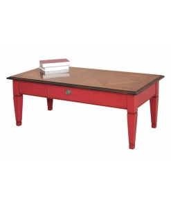 Table basse bicolore rouge et merisier Arteferretto