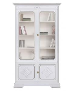 Vitrine bibliothèque, bibliothèque de bureau, vitrine blanche, mobilier pour le salon