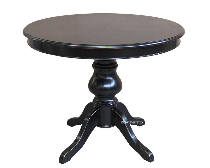table manger noire ronde diam tre 100 cm lamaisonplus. Black Bedroom Furniture Sets. Home Design Ideas
