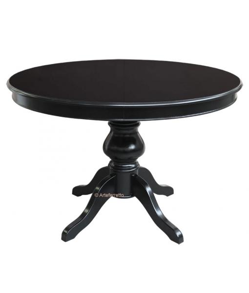 Table ronde noire avec rallonge diam tre 110 cm - Table ronde 110 cm avec rallonge ...