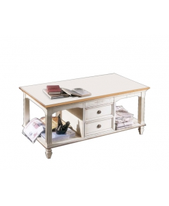 table basse, table basse de salon 2 tiroirs, table basse avec tiroir, range magazine