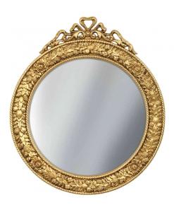 miroir rond, miroir 90 cm, miroir doré, miroir pour l'entrée, miroir en bois