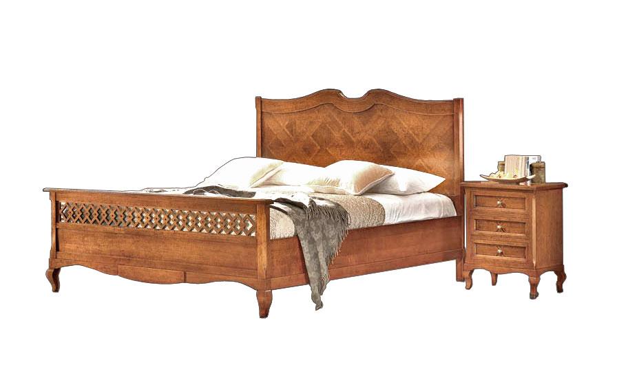 Lit classique en bois avec tête de lit marquetée - LaMaisonPlus