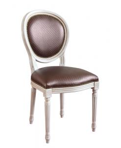 chaise médaillon, chaise laquée, chaise blanche