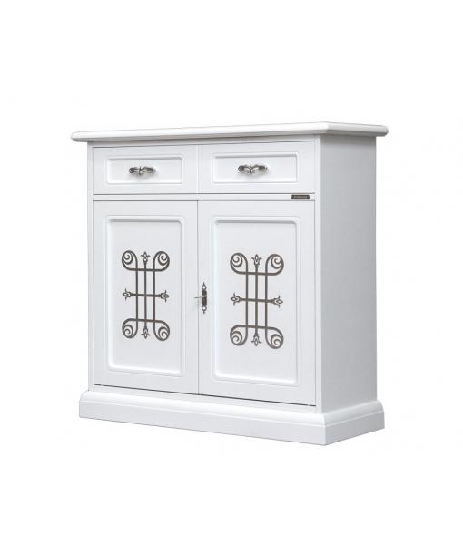 Meuble buffet 2 portes, meuble buffet laqué blanc, meuble buffet en bois, buffet en bois de style classique