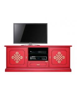 """Meuble tv 150 cm largeur """"Modène Gold"""",meuble tv rouge, meuble rouge, meuble laqué rouge"""