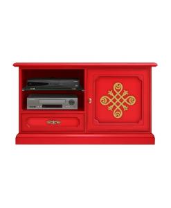meuble tv, meuble tv rouge, meuble tv rouge laqué, meuble banc tv