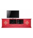 Meuble Tv 2 mètres largeur, meuble rouge, meuble tv rouge