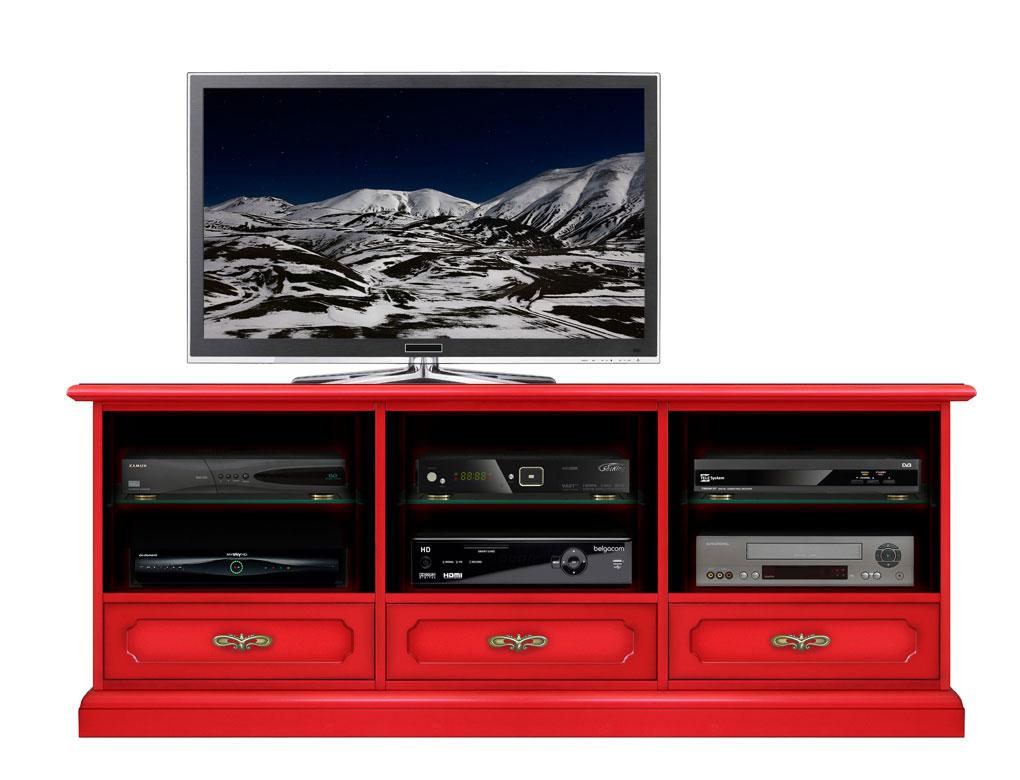 Meuble tv 3 tiroirs et niches red klass lamaisonplus for Meuble tv 3 niches