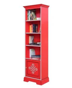 bibliothèque étroite, bibliothèque colonne, bibliothèque rouge, meuble biblio,