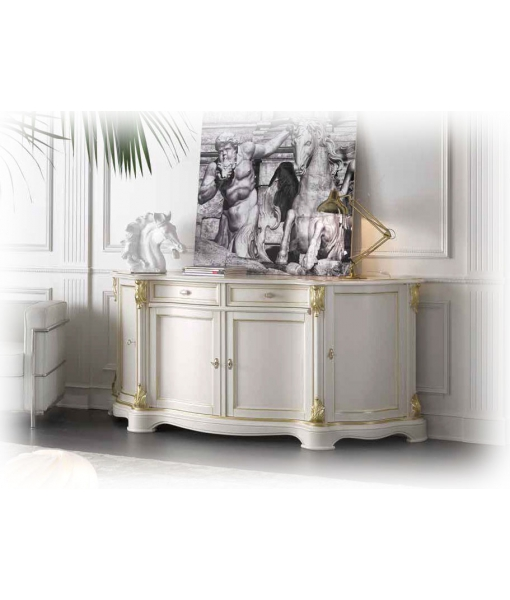 Meuble buffet classique white gold lamaisonplus for Meuble classique