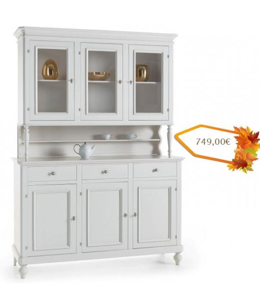 Buffet vaisselier 3 portes laqu blanc lamaisonplus for Vaisselier blanc laque