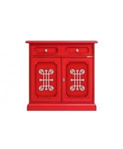 buffet bahut, meuble enfilade, meuble rouge, meuble petit espace