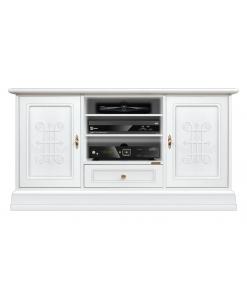 meuble tv 130 cm, meuble télé 130 cm, meuble de télévision laqué blanc
