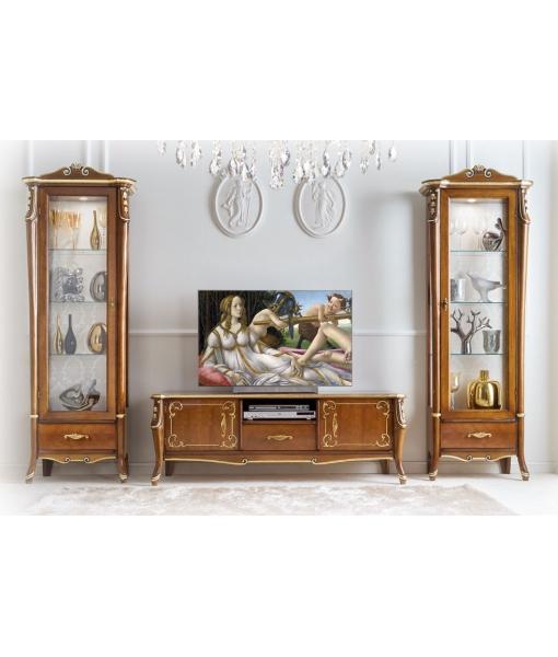 meuble banc tv bas, meuble tv, banc tv, meubles pour salon, vitrine, vitrine salon classique