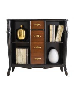 bibliothèque basse avec tiroirs, meuble bibliothèque, bibliothèque, meuble bibliothèque noir, bibliothèque classique, mobilier style classique