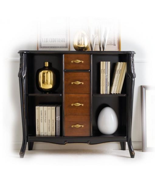 Bibliothèque basse avec tiroirs, bibliothèque style classique, meuble bibliothèque rangement, bibliothèque étagères