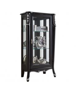 vitrine noire une porte, vitrine pour salon, meuble vitrine