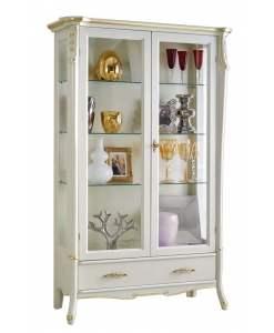 Vitrine blanc laqué, meuble vitrine, vitrine avec tiroir, vitrine pour salon, vitrine rangement verres, vitrine en bois et verre