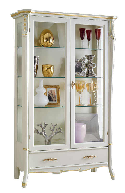 Vitrine blanc laqu beautiful line lamaisonplus for Meuble vitrine ikea