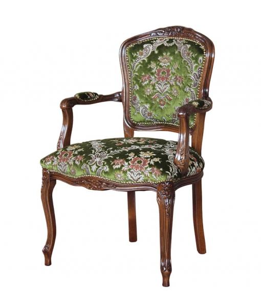 fauteuil de style classique, fauteuil artisanal, fauteuil tissu velours vert
