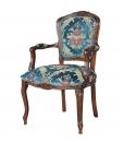 fauteuil bois massif, fauteuil velours, fauteuil de style classique, fauteuil tissu bleu