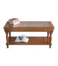 table basse louis philippe, table de salon, table de salon dessus en cristal, table basse de salon en bois