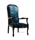 fauteuil voltaire, fauteuil noir, fauteuil velours bleu