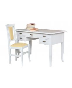 Ensemble bureau et chaise, bureau blanc, bureau avec 5 tiroirs, meubles en bois style classique