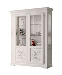 vitrine deux portes, meuble vitrine exposition, vitrine haute en bois