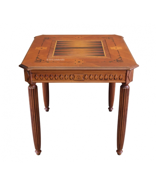 Table de jeux marquetée, table de jeux, backgammon, table de jeux des cartes