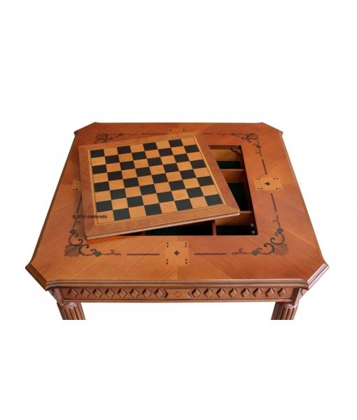 Table de jeux marquetée, table de jeux des cartes, table de jeux d'échec