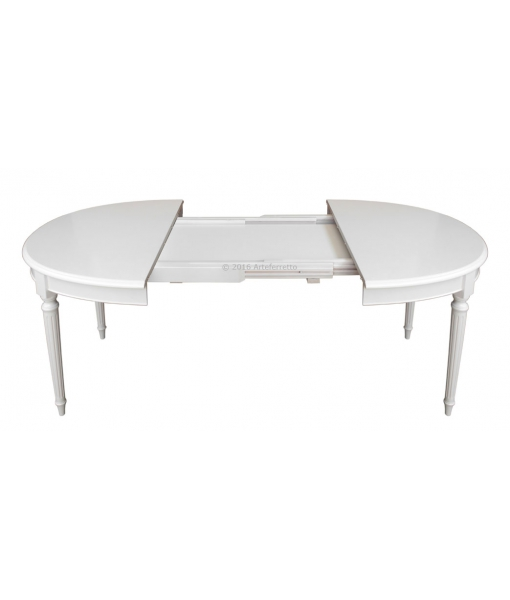 Table ovale extensible style louis xvi lamaisonplus for Table a manger blanche avec rallonge