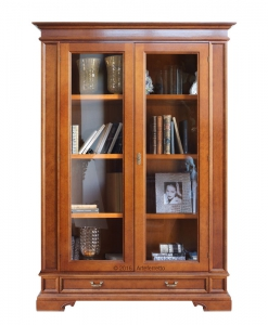 vitrine avec tiroir, vitrine de style classique, vitrine bois et verre