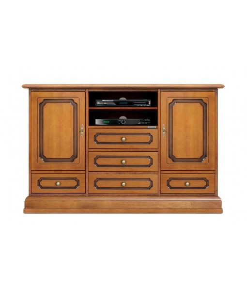 Meuble TV multifonction, meuble buffet polyvalent, mobilier style classique, mobilier en bois