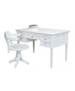 Ensemble chaise tournante et bureau, chaise blanche, bureau de cabinet, bureau style classique