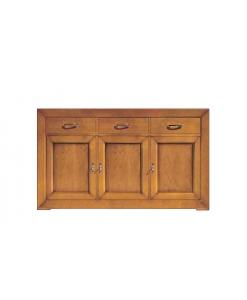 buffet enfilade, meuble buffet 3 portes, meuble classique, meuble bois massif