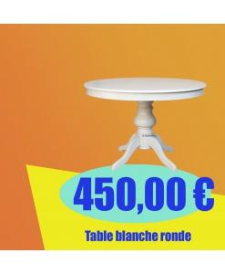 Table ronde prolongeable blanche 100 cm, table ronde pour salle à manger à petit prix