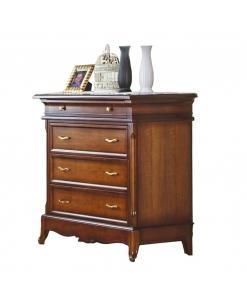 Commode 4 tiroirs pour chambre à coucher, meuble commode, commode et chevet assorti, meuble commode en bois, mobilier de style classique