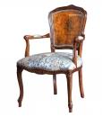 Fauteuil classique peint à la main, fauteuil dossier en bois, fauteuil bois massif, mobilier classique pour salon