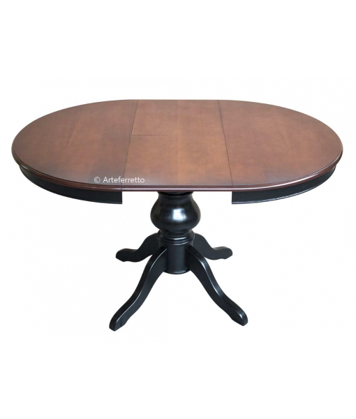 Table ronde à manger noir et merisier